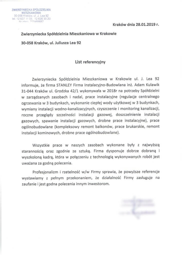 Referencje Stanley Fib Kraków